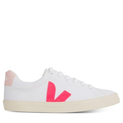 White/Pink Esplar-SE Canvas Trainers