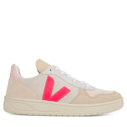 Natural/Pink V-10 Suede Trainers