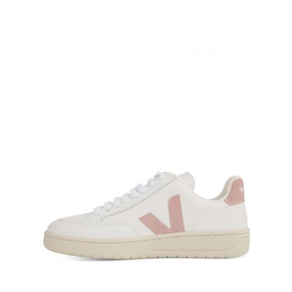 White/Pink Leather V-12 Trainers