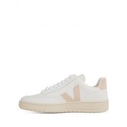 White/Beige Leather V-12 Trainers