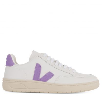 White/Lavender Leather V-12 Trainers