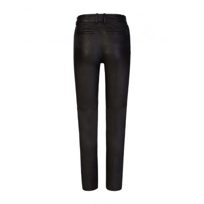 Black Coleman Leather Stretch Trousers