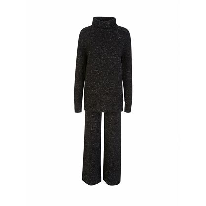 Black Knit Tweed Trousers