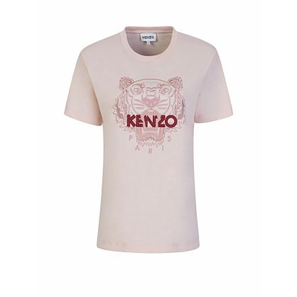 Pink Loose-Fit Classic Tiger Logo T-Shirt