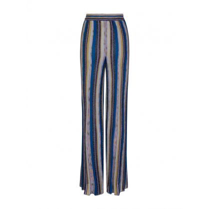 Blue Wide Knit Lamé  Trousers