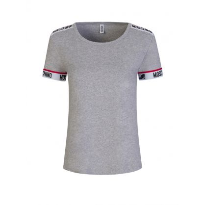 Grey Logo Tape Short-Sleeve T-Shirt
