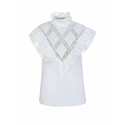 Di Lorenzo Serafini White Lace Frill Oxford Top