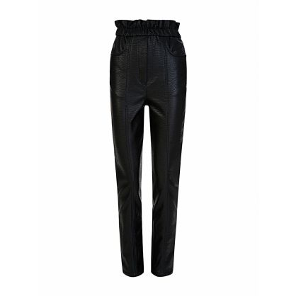 Di Lorenzo Serafini Black Slim Faux Leather Trousers