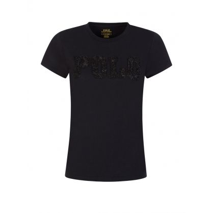 Black Beaded Logo T-Shirt