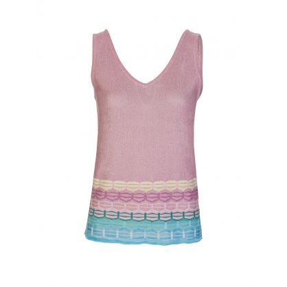 Pink/Blue V Neck Vest Top