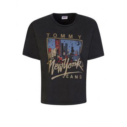 Black Metallic New York Logo Cropped T-Shirt