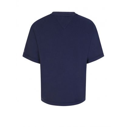 Navy Repeat Logo Tape Cropped-Fit T-Shirt