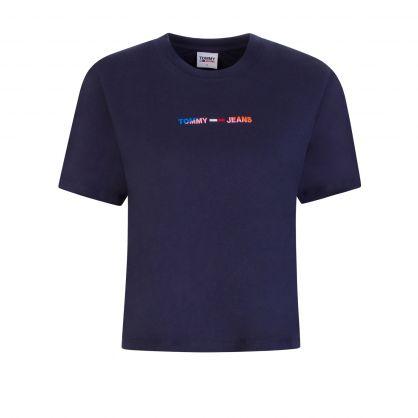 Navy Logo Cropped T-Shirt
