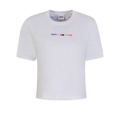 White Logo Boxy Cropped T-Shirt