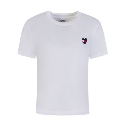 White Organic Cotton Heart Flag T-Shirt