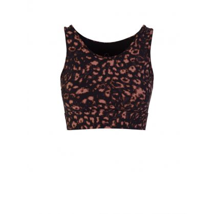 Black Berkeley Red Textured Animal Sports Bra