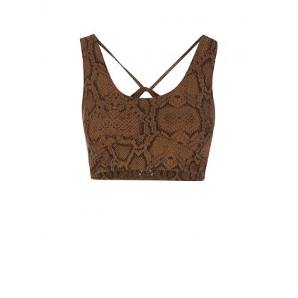 Brown Cary Snake Print Sports Bra