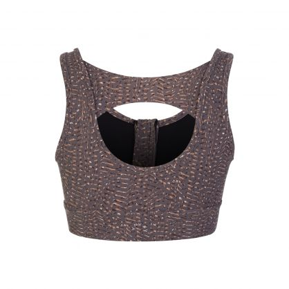 Brown Fay Umber Feathers Sports Bra