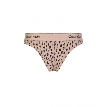 Brown Animal Print Modern Cotton Brazilian Brief