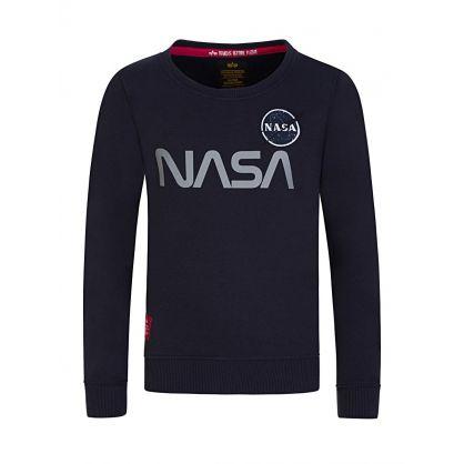 Kids Navy NASA Reflective-Print Sweatshirt