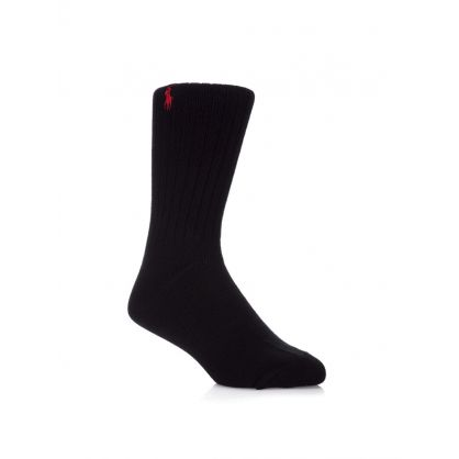 Black Ribbed Pony Player Socks