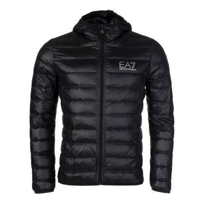 Black Hooded Quilted Jacket