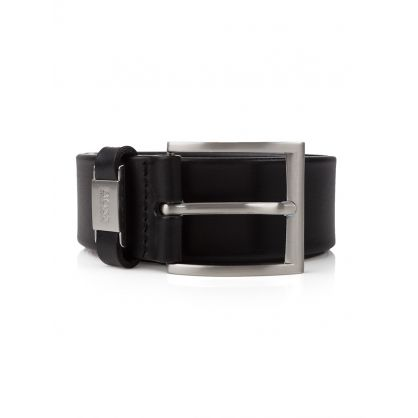 Black Connio Leather Belt
