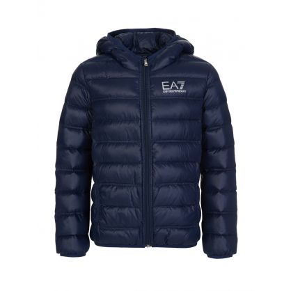 Junior Navy Blue Padded Logo Jacket