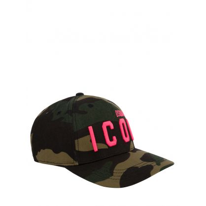 Kids Green Camo-Print ICON Cap