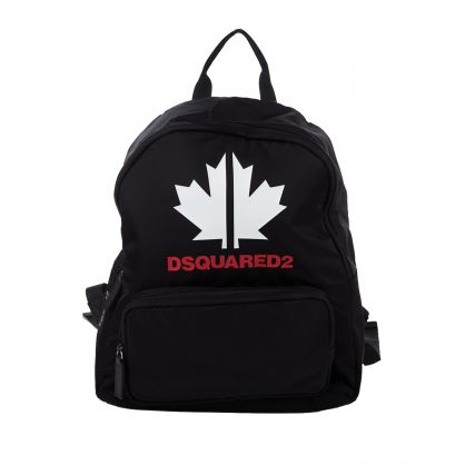 Kids Black Maple Leaf Logo Backpack