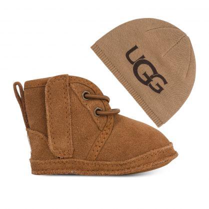 Kids Brown Baby Neumel & Beanie Hat Gift Set