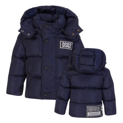 Kids Navy DSQ2 Logo Puffer Jacket