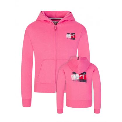 Kids Pink Hooded Zip Through