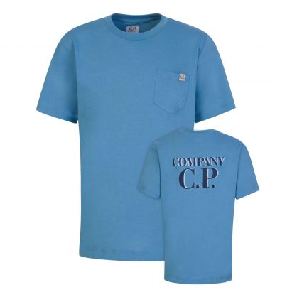 Blue Chest Pocket Shadow Logo T-Shirt