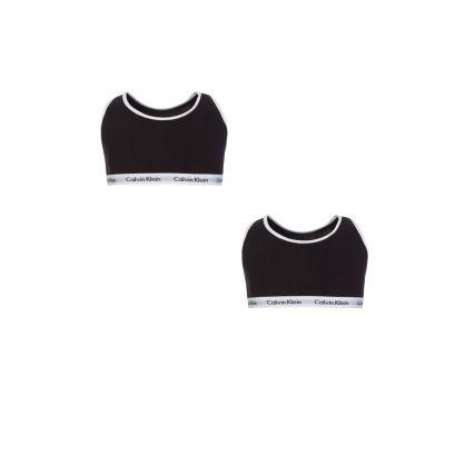 Kids Black/White Modern Cotton Bralette 2-Pack