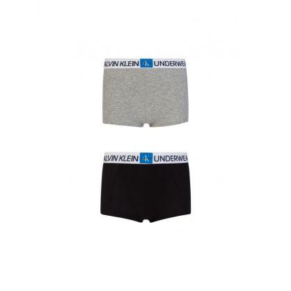 Kids Black/Grey Minigram 2Pk Trunks