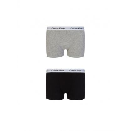 Kids Grey/Black 2Pk Modern Cotton Trunks