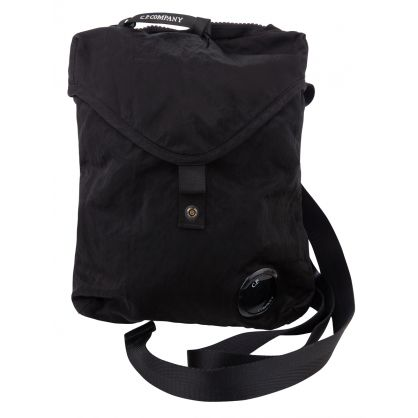 Black Garment-Dyed Nylon Crossbody Bag