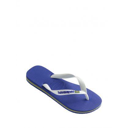 Blue Brasil Logo Flip Flops