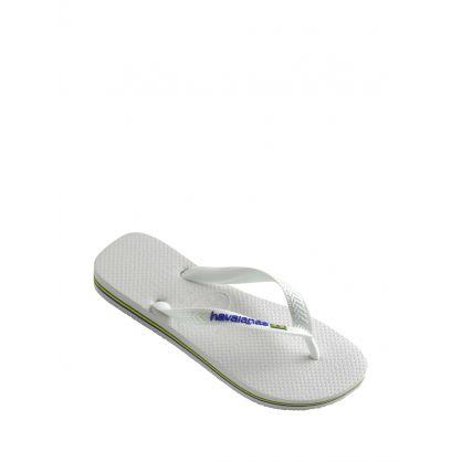 White Brazil Logo Flip Flops