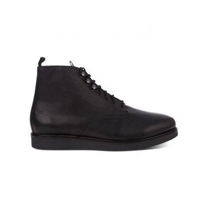 Black Leather Battle Boots