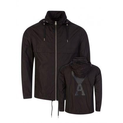 AMI De Coeur Black Hooded Windbreaker Jacket