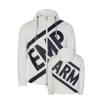 Warm White Micro Twill Logo Jacket