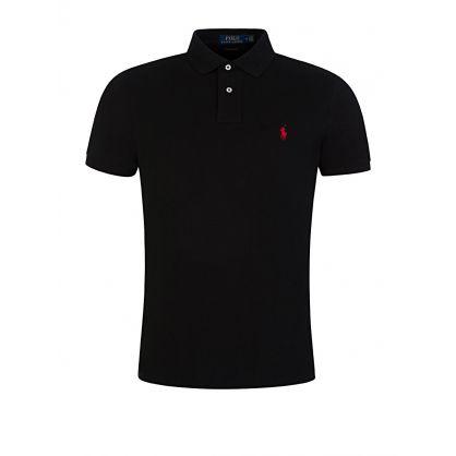 Black Custom Slim Fit Mesh Polo Shirt