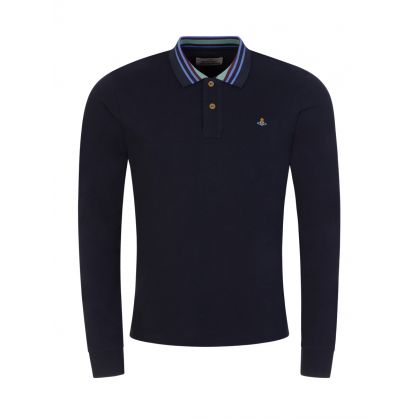 Navy Stripe Collared Polo Shirt