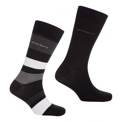 Black Striped Socks 2-Pack