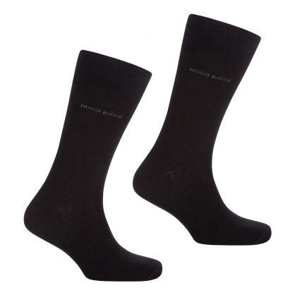 Black Finest Soft Cotton Socks 2-Pack
