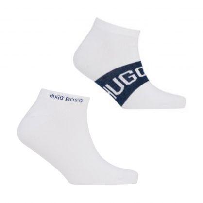 White Finest Soft Cotton Logo Detail Ankle Socks 2-Pack