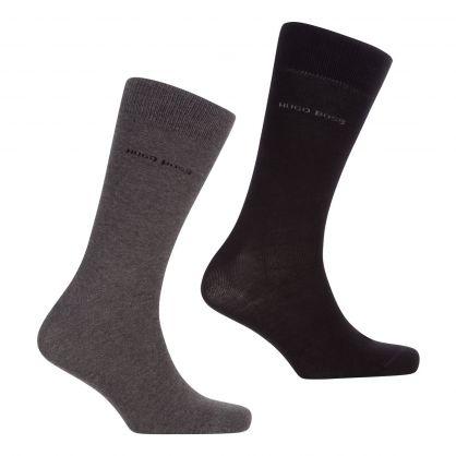 Grey/Black Finest Soft Cotton Regular-Length Socks 2-Pack