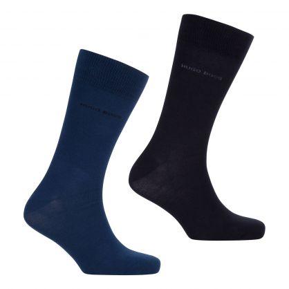 Dark Blue/Black Finest Soft Cotton Regular-Length Socks 2-Pack